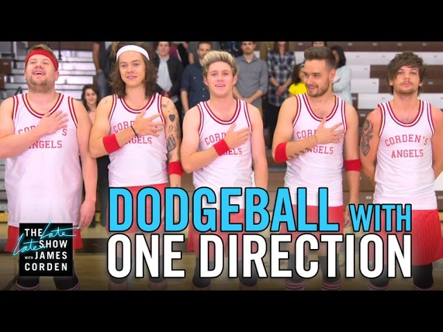 One Direction James Corden Play Dodgeball On The Late Late Show Axs