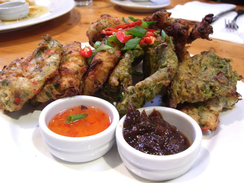 Stamp And Go Callaloo Fritters Jamaican Cuisine With Chilli Sauce