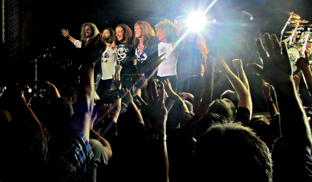 Whitesnake members acknowledge the crowd's adoration following Tuesday night's 1-hour, 42-minute set at the Majestic Theatre.