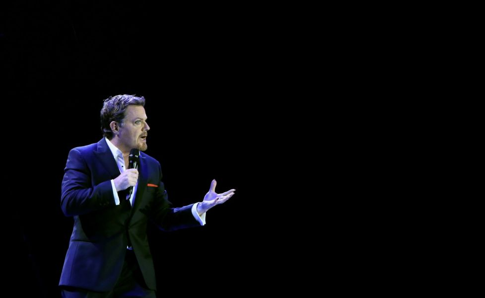 Eddie Izzard performing during the Force Majeure world tour
