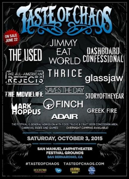 Taste of Chaos 2015 promotional lineup poster