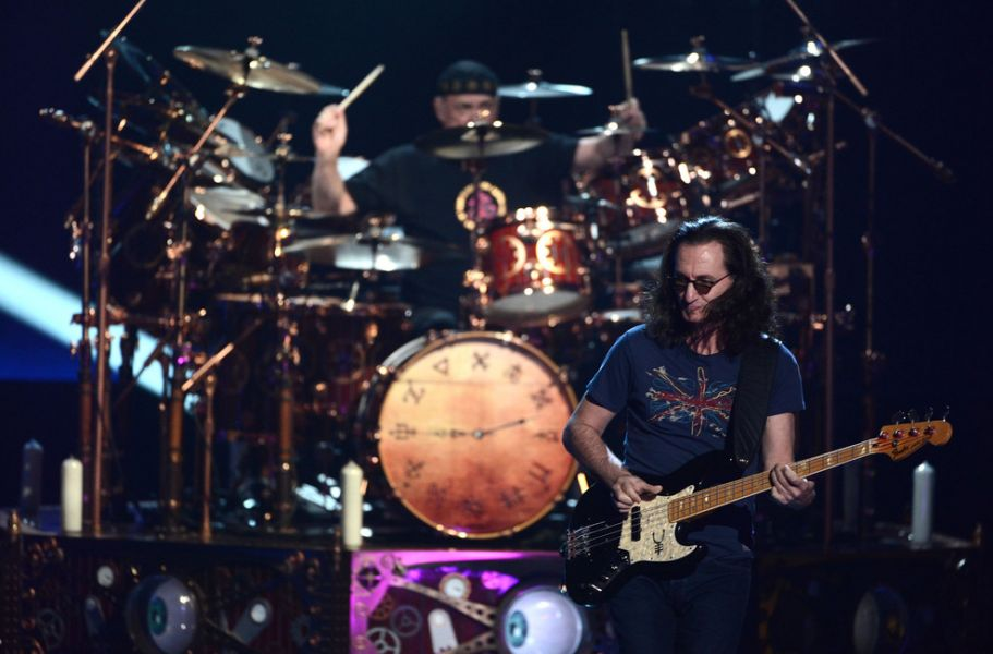 Rush Perform On Stage At The 28th Annual Rock And Roll Hall Of Fame Induction Ceremony