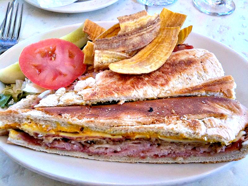 A Cuban Sandwich Plantain Chips And Black Bean Soup From The Columbia Restaurant