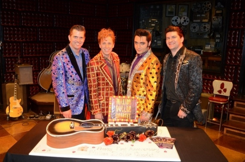 "Justine Shandor as Elvis (3rd from left) in the award winning musical ""Million Dollar Quartet."""