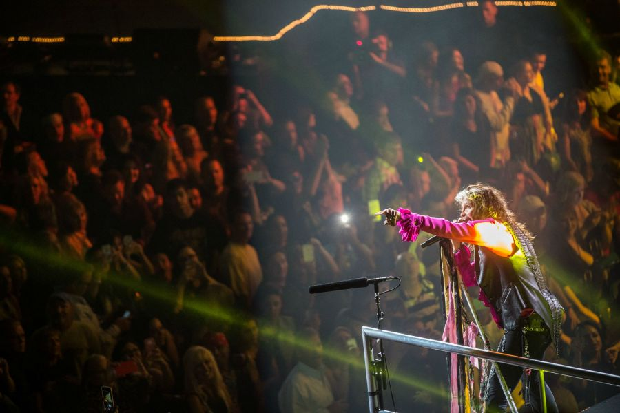 Steven Tyler performing in front of a sold-out crowd during Aerosmith's Blue Army Tour date at the MGM Grand Garden Arena