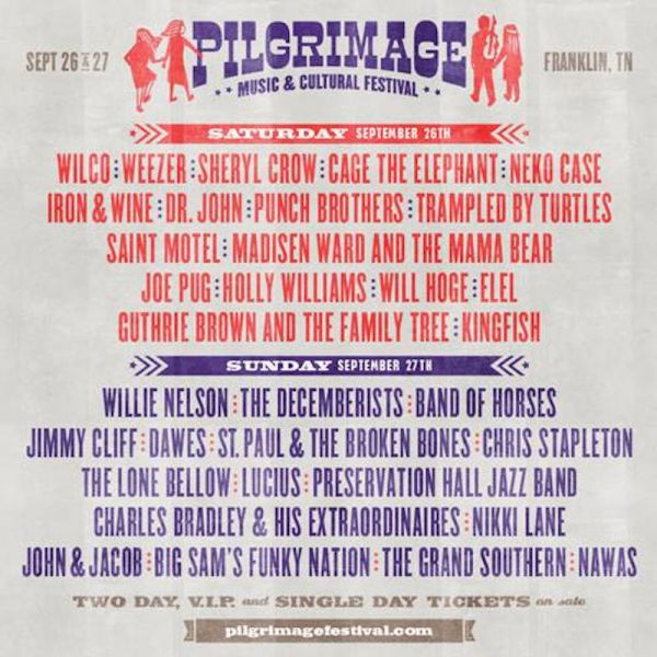 The Pilgrimage Music & Cultural Festival takes place on Sept. 16-17, 2015.