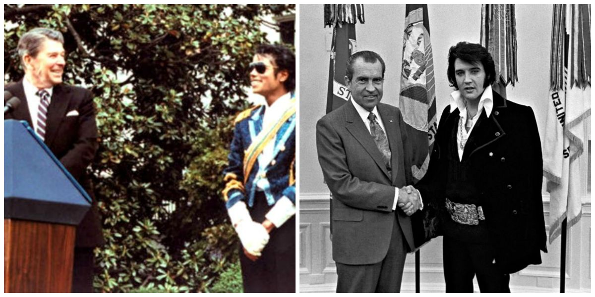 Michael Jackson (left) meets President Reagan, Elvis (right) meets President Nixon.