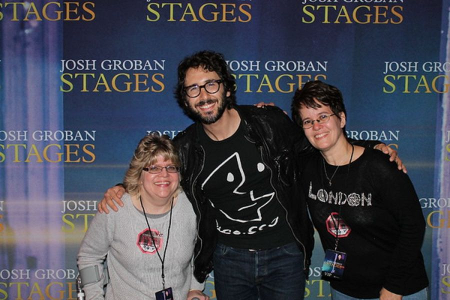Josh groban greets fans makes dreams come true at detroit stages josh groban greets lori melton and kathy davis with a charming grin at fox theatre meet m4hsunfo Image collections