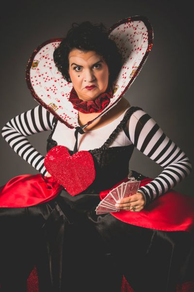 """Deanna Martinez as The Queen of Hearts in TMP Family Theater's production of """"Alice in Wonderland."""""""