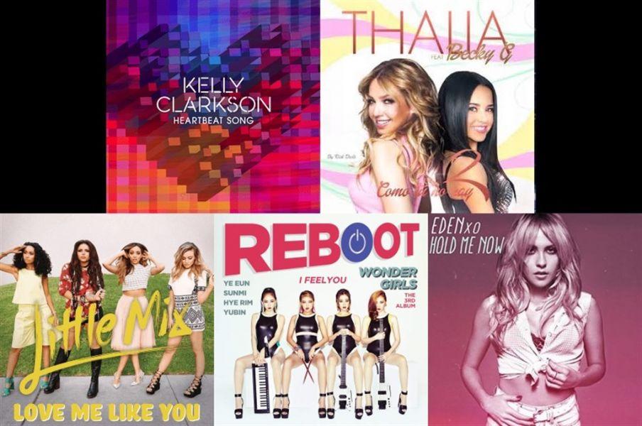 Kelly Clarkson, Thalia, Little Mix, Wonder Girls and Eden XO single covers