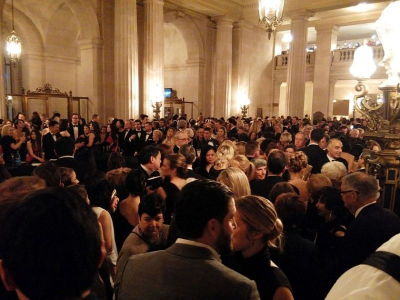 Cheek by jowl in the Opera House's overcrowded lobby at the Ballet gala Thursday night