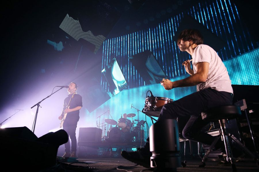 SYDNEY, AUSTRALIA - NOVEMBER 12: Thom Yorke and Jonny Greenwood of Radiohead perform live on stage at Sydney Entertainment Centre on Novembe