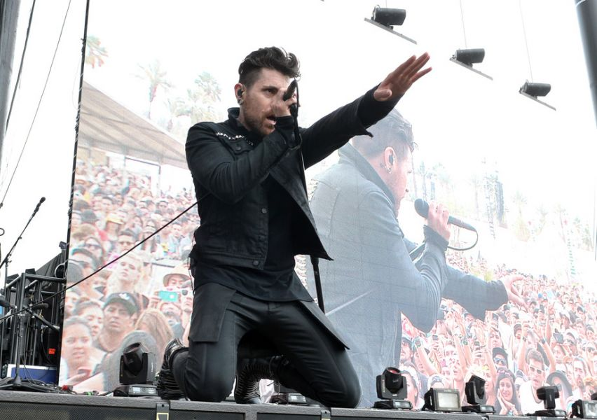 Davey Havok of AFI performs onstage during day 1 of the 2014 Coachella Valley Music & Arts Festival at the Empire Polo Club on April 18, 201