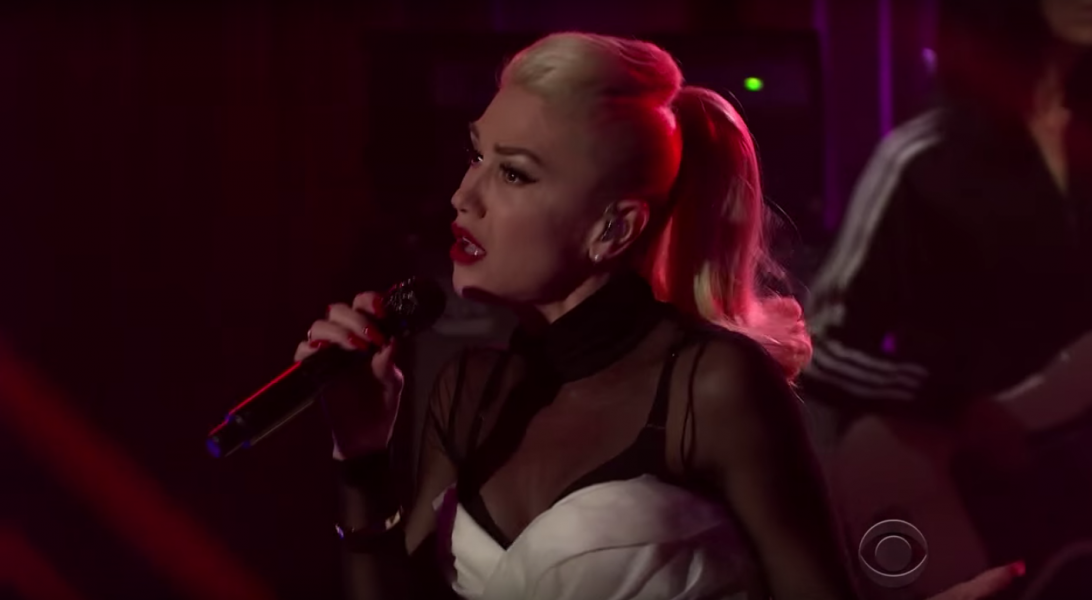 Gwen Stefani performs on the never-used 'Late Late Show' stage