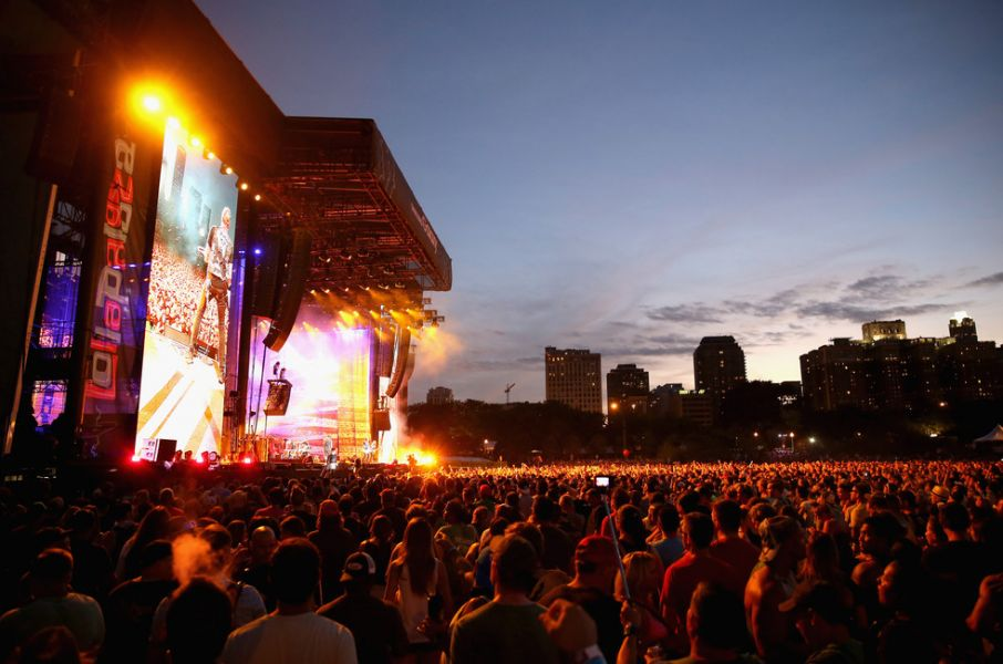 Guests enjoy the Metallica performance from the Samsung Galaxy Owner's Lounge during Lollapalooza 2015 at Grant Park on August 1, 2015