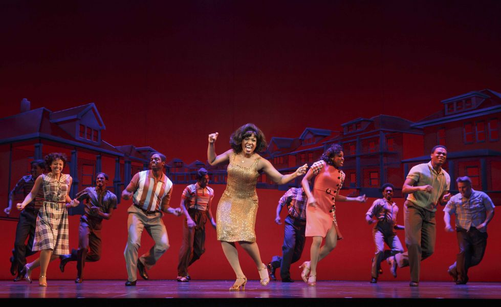 Patrice Covington as Martha Reeves (center) & Cast MOTOWN THE MUSICAL First National Tour