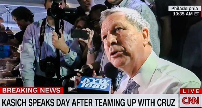 Reporters will not let Kasich eat in peace; he gets testy and talks while eating, pissing off Limbaugh