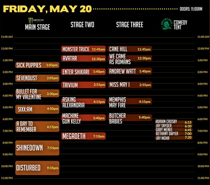 Horizon Tour Set Times