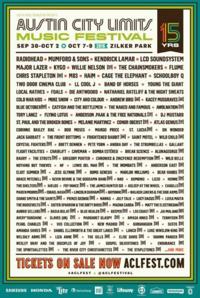 Austin City Limits announces lineup for 2016