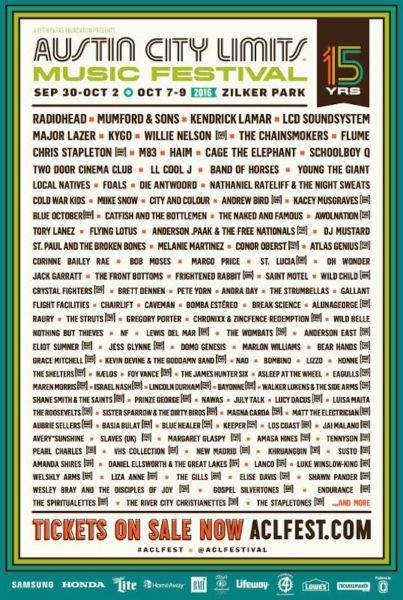 Radiohead, Mumford & Sons and Kendrick Lamar to headline Austin City Limits Music Festival.