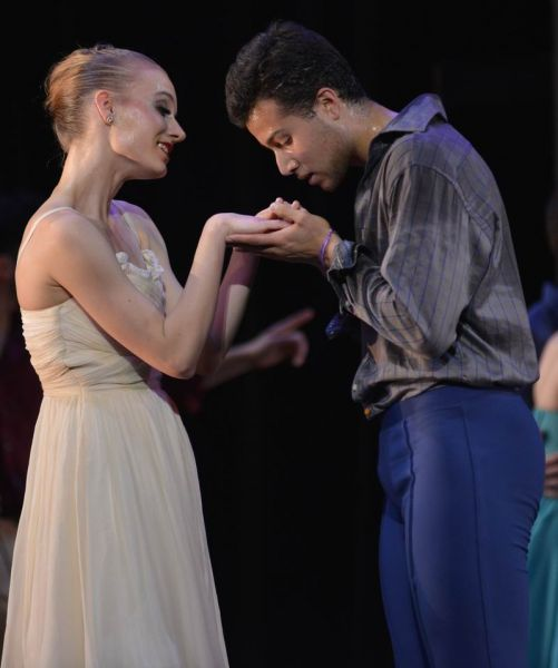 Franz (Nicholas Montero) tries to romance his fiance Swanilda (Lauren Stenroos) during the Cleveland Ballet performance of Coppelia