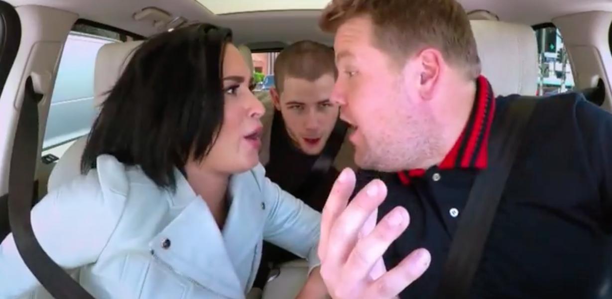 Demi Lovato and Nick Jonas take a ride on Carpool Karaoke