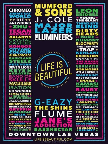 Life Is Beautiful Music Festival 2016 Promotional Lineup Art