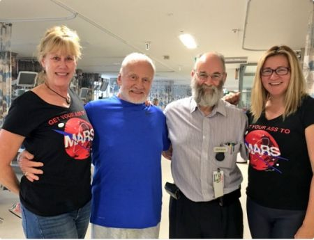 Buzz Aldrin with Christina Korp, his daughter Jan, and Dr. David Bowie.