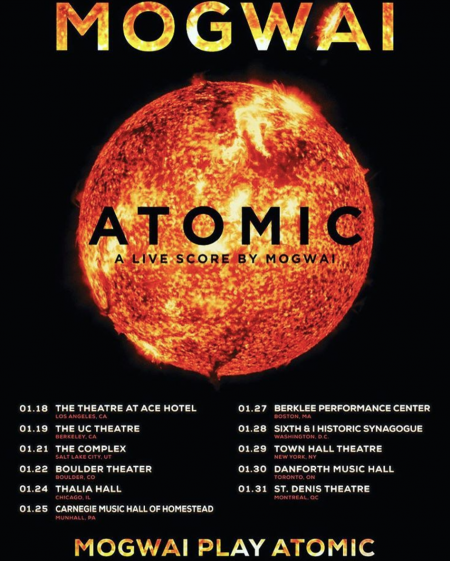Scottish band Mogwai will perform their soundtrack albumAtomicfor North American audiences on an upcoming tour.