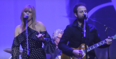 "Grace Potter and Tyler Goldsmith perform ""Silver Threads and Golden Needles"" at Linda Ronstadt tribute concert."