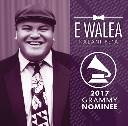 Kalani Pe'a's debut album E Walea is nominated for Best Regional Roots Music Album at the 59th annual Grammy Awards.