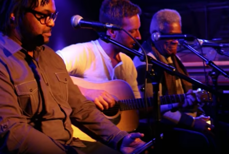 Chris Martin is joined by members of the Bowery Mission at Mercury Lounge in New York City for a surprise concert on Wednesday night.
