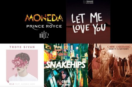 Prince Royce, DJ Snake, Carrie Underwood, Snakehips and Troye Sivan cover art
