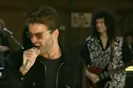 Watch George Michael play 'Somebody to Love' in front of David Bowie