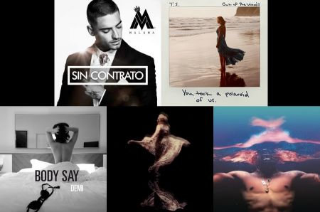 Maluma, Taylor Swift, Miguel, Adele and Demi Lovato cover art