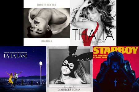 Rihanna, Thalia, The Weeknd, Ariana Grande and La La Land cover art