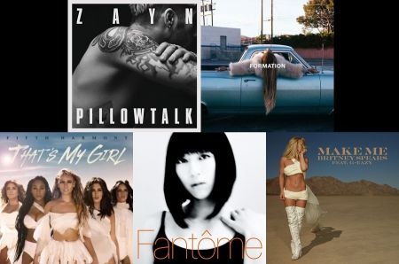 Zayn, Beyonce, Britney Spears, Utada Hikaru and Fifth Harmony cover art