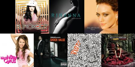 Britney Spears, Rihanna, Hilary Duff, Kelly Clarkson, Paramore, Timbaland and Miley Cyrus cover art