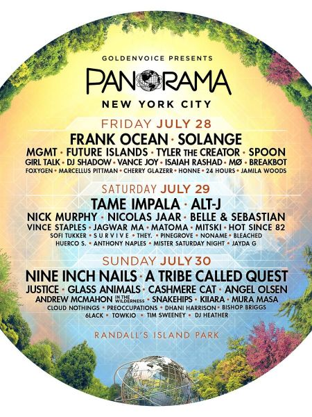 Frank Ocean, Solange, Tame Impala, Nine Inch Nails, and A Tribe Called Quest highlight Panorama's 2017 festival lineup