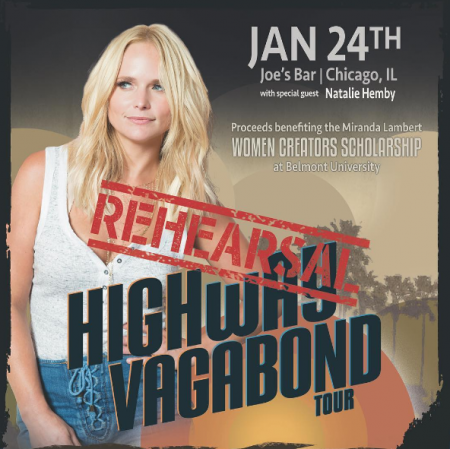 Miranda Lambert announces Jan. 24 club show at Joe's Bar in Chicago.