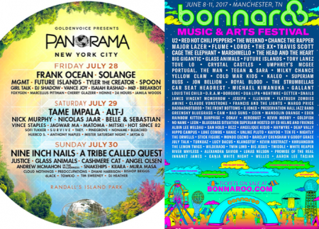 Which festival lineup released this week has the stronger undercard, Panorama or Bonnaroo?