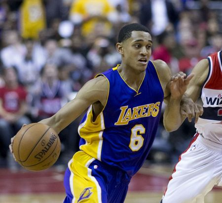 Jordan Clarkson of the Los Angeles Lakers injures his right ankle in the loss to the Detroit Pistons.