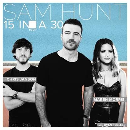 Sam Hunt announces 15 in a 30 Tour.