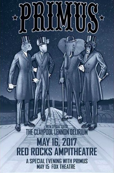 Primus and Claypool Lennon Delirium play Red Rocks on May 16