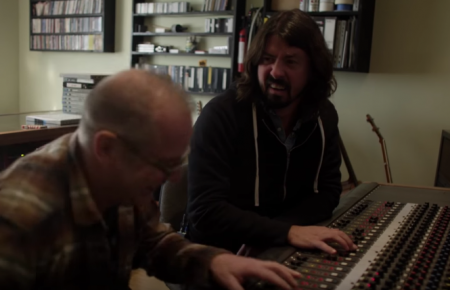 Dave Grohl and longtime friend/producer Barrett Jones listen to the first song Grohl ever recorded back in 1990 prior to joining Nirvana