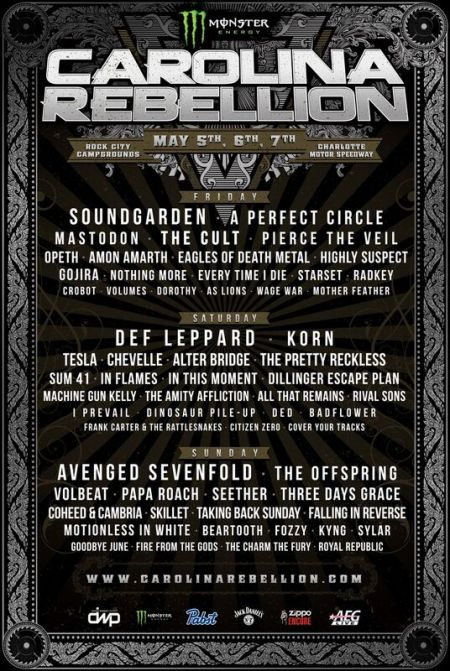 Carolina Rebellion 2017 lineup for May 5-7, at Charlotte Motor Speedway in Concord, NC.