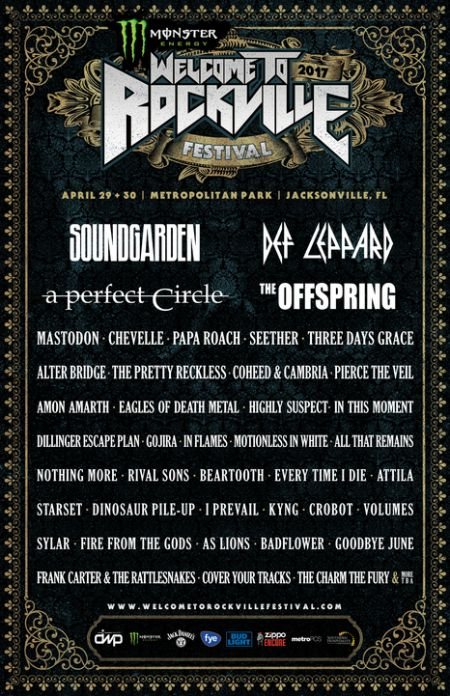 Welcome to Rockville 2017 lineup. The festival takes place April 29-30 in Jacksonville, Fla., at Metropolitan Park.