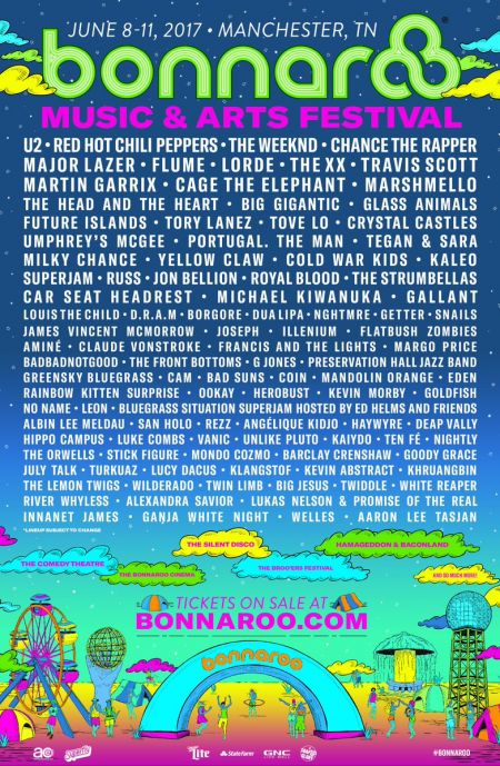 Bonnaroo's 2017 lineup includes U2, Red Hot Chili Peppers, The Weeknd, and Chance The Rapper