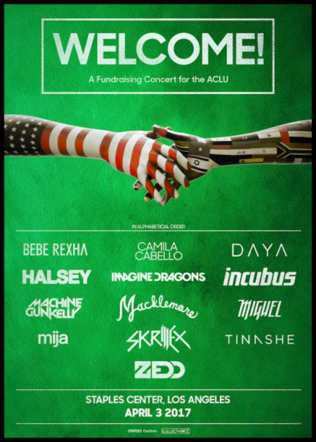 'Welcome!' ACLU benefit concert at STAPLES Center feat. ZEDD, Incubus, Halsey, Imagine Dragons + more at STAPLES Center on sale no
