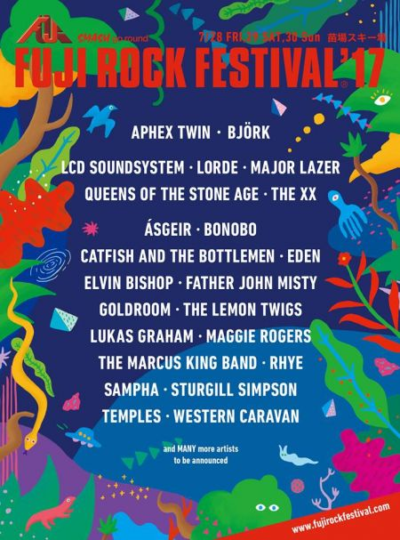 Queens of the Stone Age, LCD Soundsystem, Björk, Lorde, The xx, and Aphex Twin were all part of Fuji Rock Festival's initial 2017 lineup ann